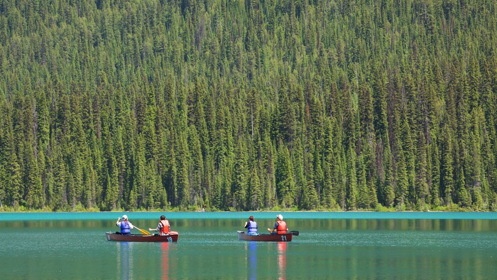Yoho National Park showing kayaking or canoeing, a lake or waterhole and tranquil scenes