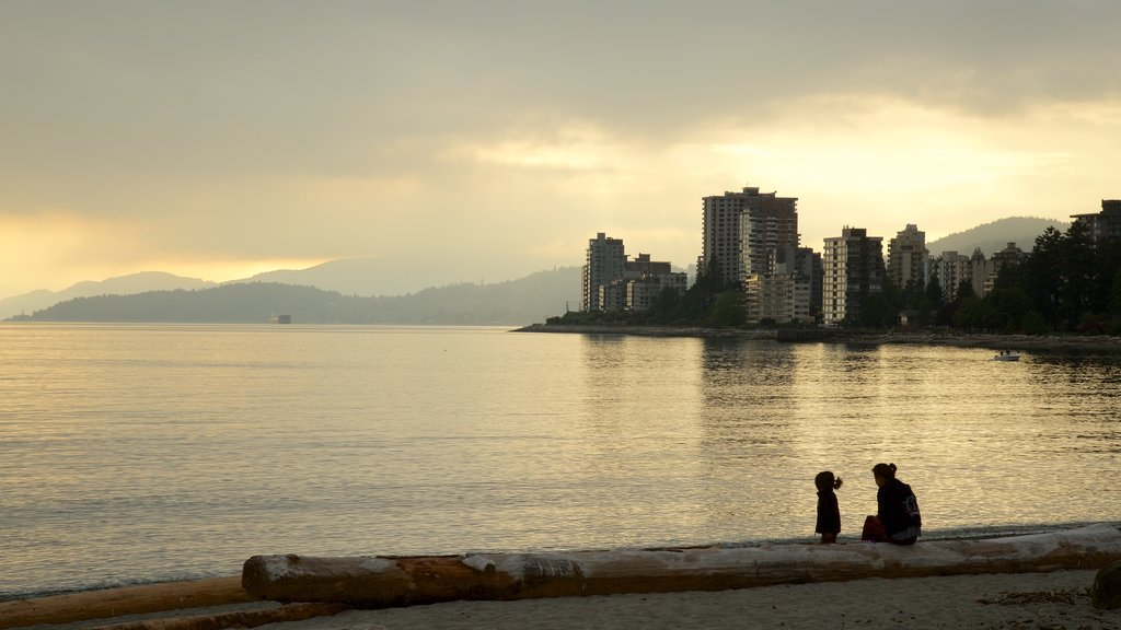 Ambleside Park which includes a sunset, a city and a coastal town