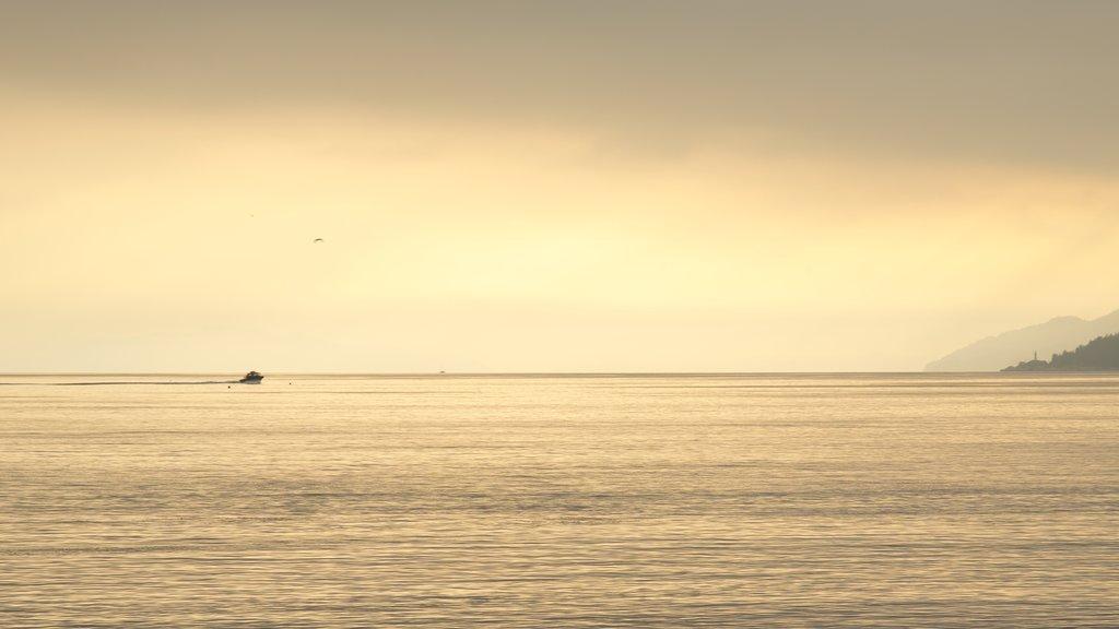 Ambleside Park mostrando vistas generales de la costa, una puesta de sol y paseos en lancha