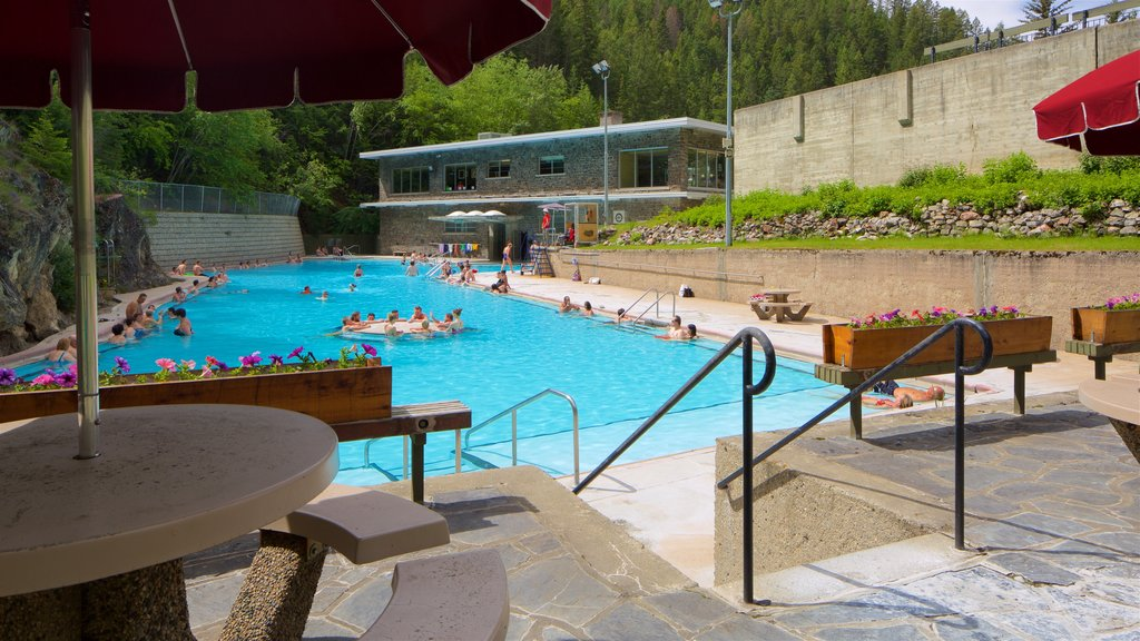 Kootenay National Park which includes a pool and swimming as well as a small group of people