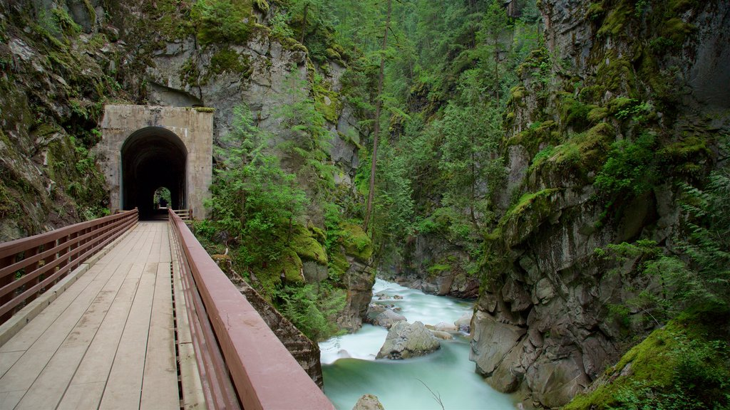 Othello Tunnels which includes a river or creek, a bridge and a gorge or canyon