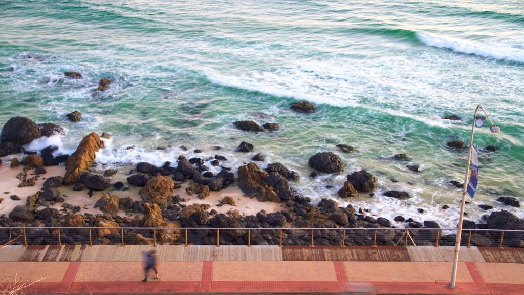 Coolangatta featuring rugged coastline, a beach and general coastal views