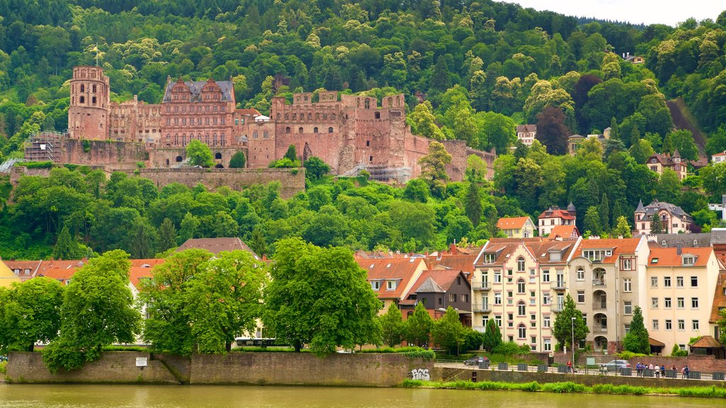 Heidelberg Castle which includes a river or creek, heritage elements and tranquil scenes