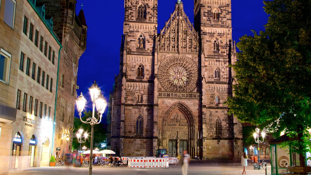 St. Lorenz Church which includes night scenes, a church or cathedral and heritage architecture