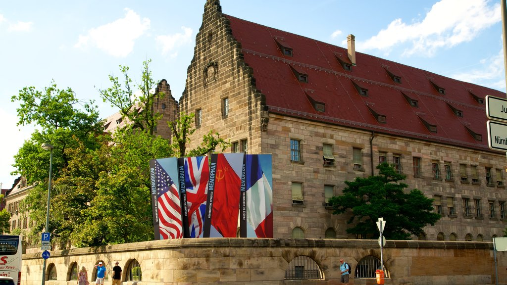 Nuremberg Palace of Justice which includes heritage elements and signage