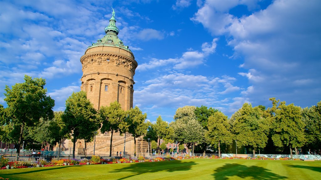 Mannheim Water Tower featuring heritage architecture and a garden