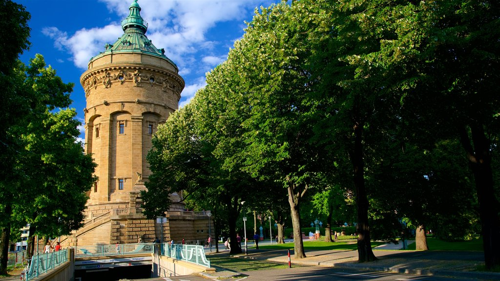 Mannheim Water Tower which includes a park and heritage architecture