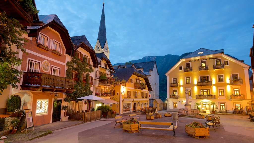 Upper Austria featuring a square or plaza, night scenes and heritage elements