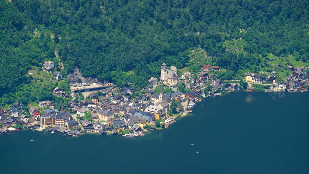 Hallstatt which includes tranquil scenes, a small town or village and a lake or waterhole