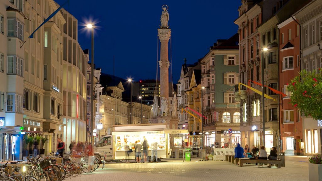 St. Anne's Column showing heritage elements and night scenes
