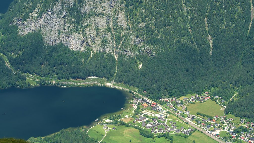 Dachstein Krippenstein which includes a small town or village and a lake or waterhole