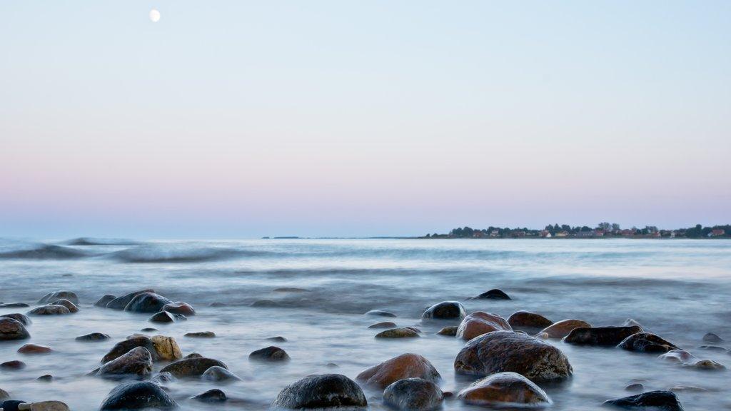 Gotland mostrando vistas generales de la costa y una playa de guijarros