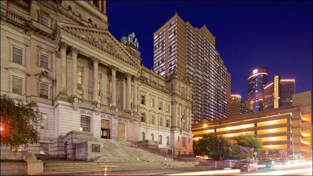 Detroit caracterizando cenas noturnas, uma cidade e arquitetura de patrimônio
