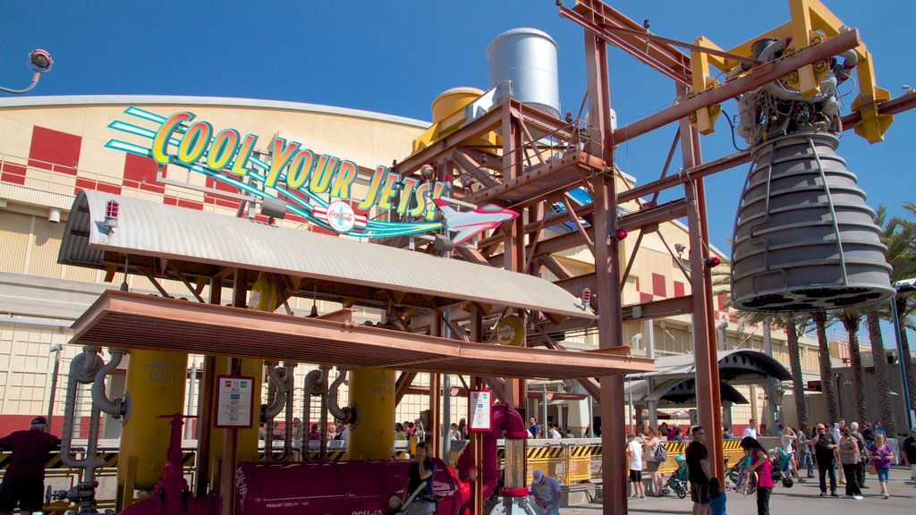 Disney California Adventure® Park showing signage and rides