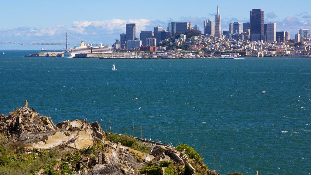 Alcatraz Island which includes a skyscraper, landscape views and a city