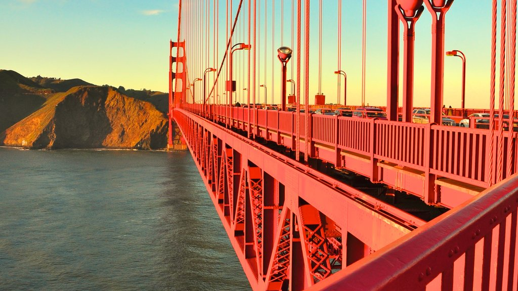 Golden Gate Bridge showing general coastal views and a bridge