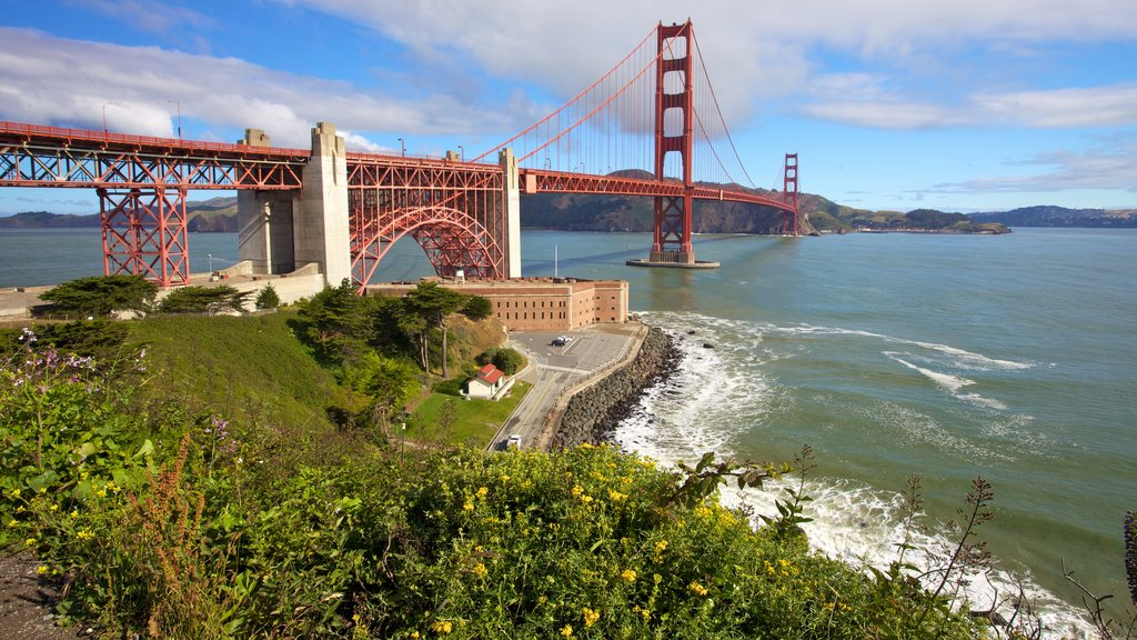Golden Gate Bridge featuring landscape views, general coastal views and a bridge