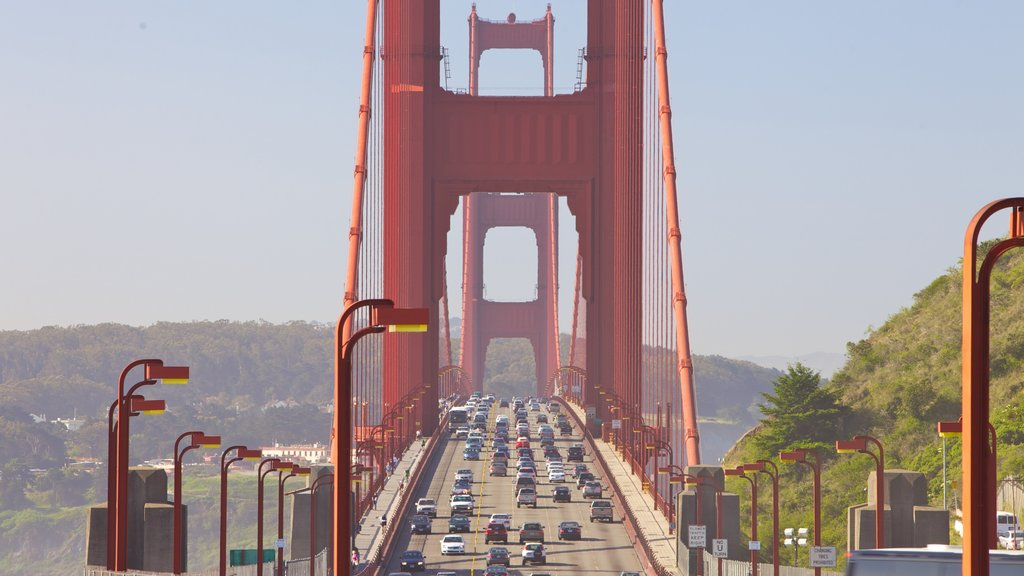 Golden Gate Bridge showing a city and a bridge