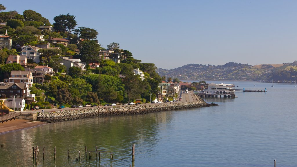 Sausalito which includes a bay or harbor, landscape views and a coastal town