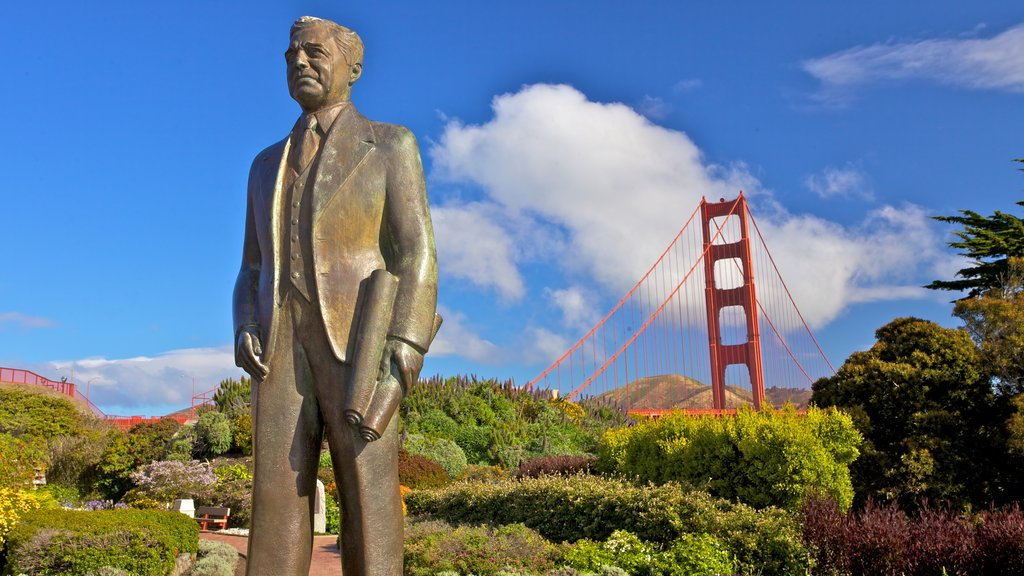 Presidio of San Francisco which includes landscape views, a monument and a statue or sculpture