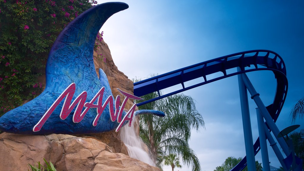 Aquatica which includes rides, signage and a waterpark
