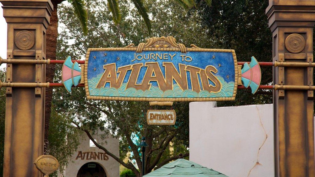 Aquatica featuring signage and rides