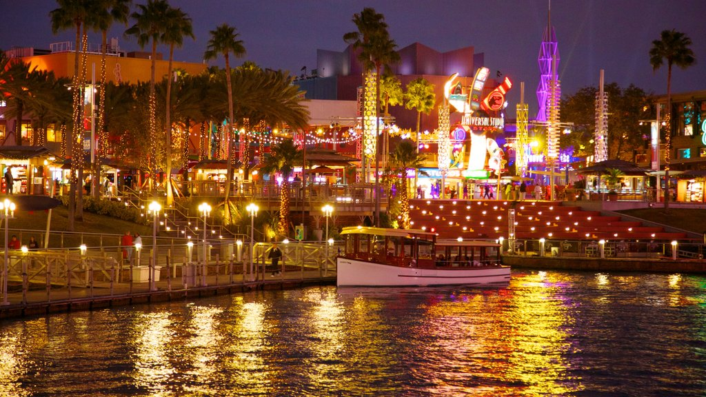 Universal Studios Orlando showing a bay or harbor, rides and boating