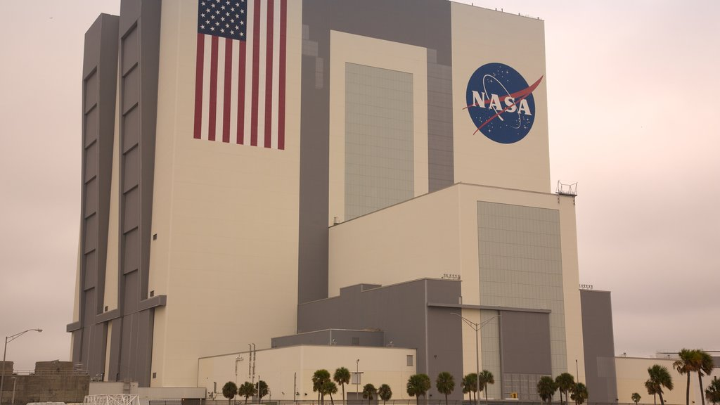 JFK Space Center featuring modern architecture, a city and signage