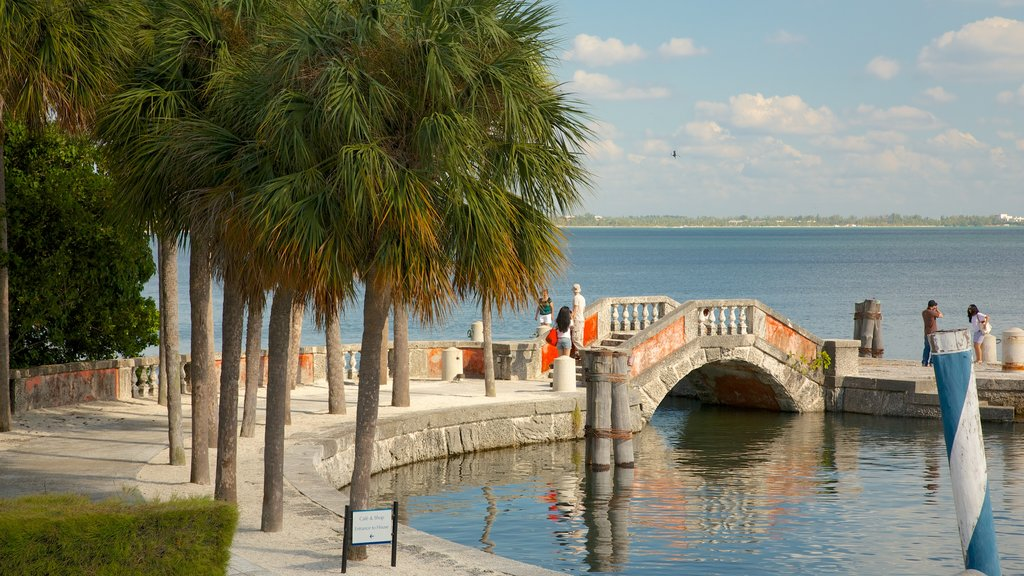 Vizcaya Museum and Gardens featuring a park, landscape views and a bay or harbor