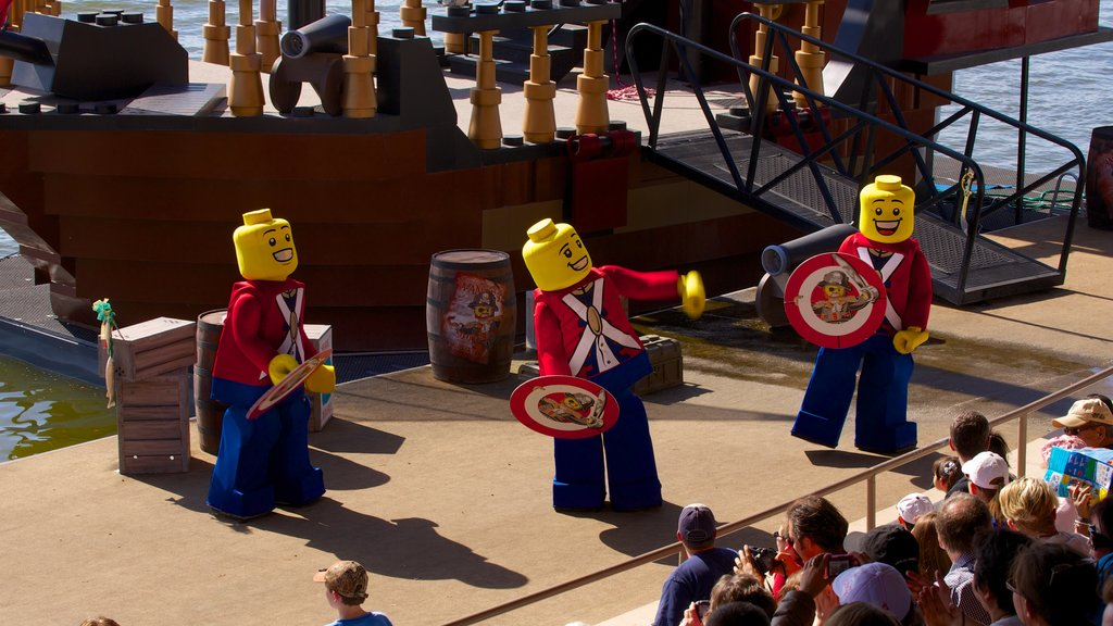 Legoland Florida which includes performance art and rides