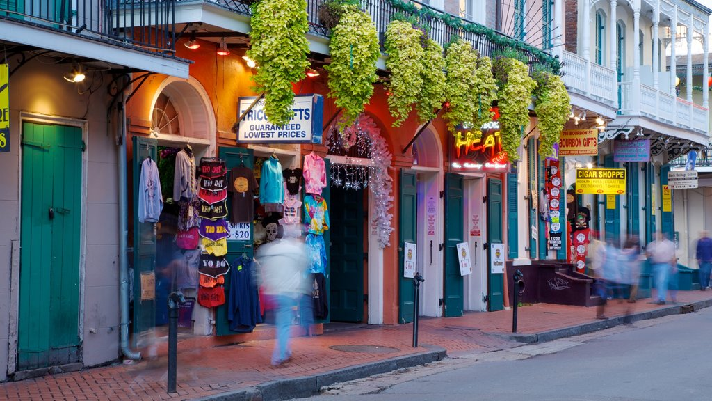 Bourbon Street which includes a city and street scenes