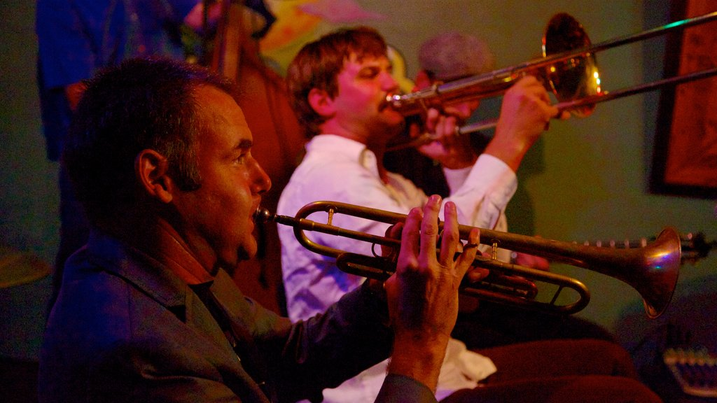 Frenchmen Street Jazz Clubs which includes performance art, interior views and nightlife