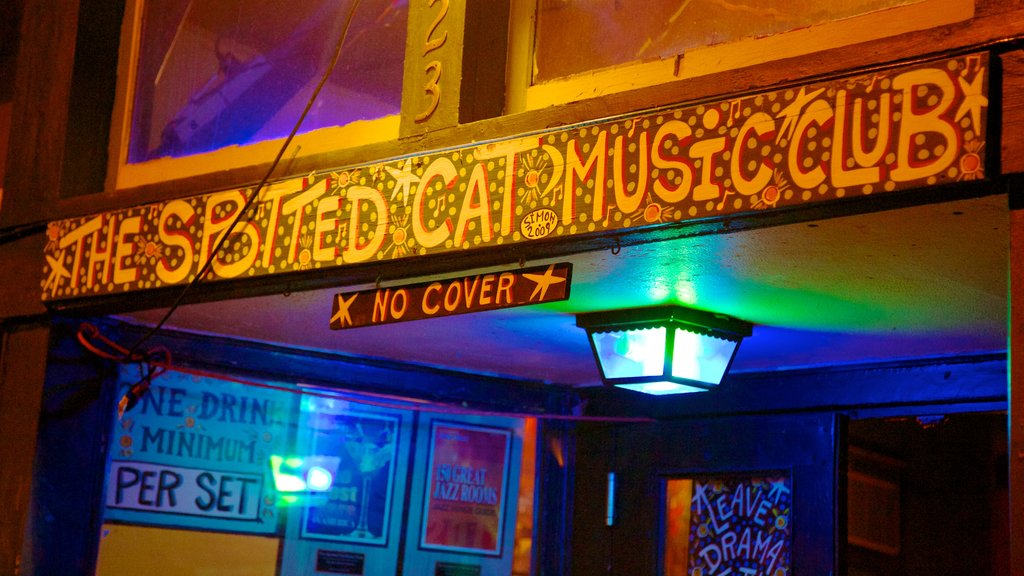 Frenchmen Street Jazz Clubs featuring signage, music and interior views