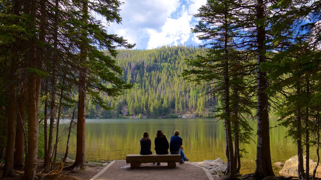 Bear Lake Trailhead which includes a lake or waterhole as well as a small group of people