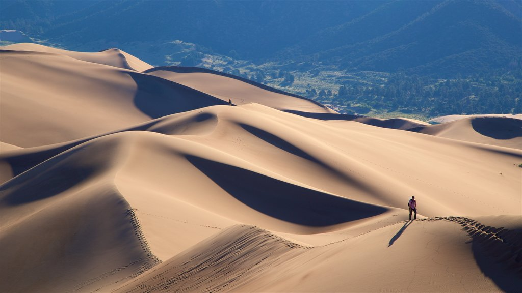 Great Sand Dunes National Park which includes desert views, hiking or walking and tranquil scenes