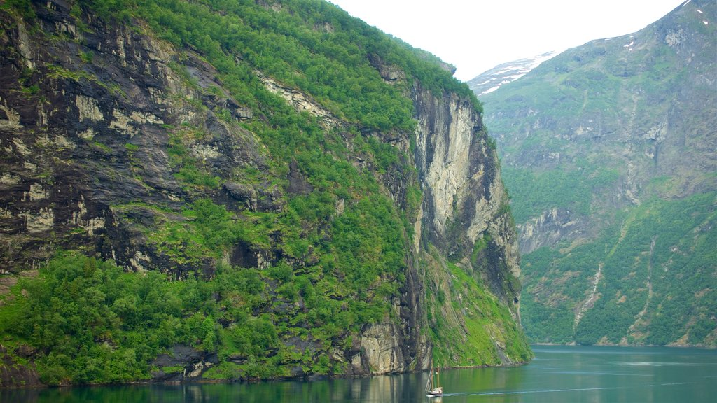 Geiranger showing a river or creek and a gorge or canyon