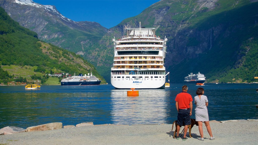 Geiranger which includes a river or creek and cruising as well as a couple