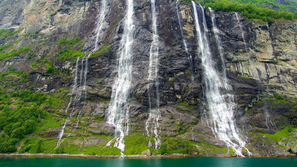 Geiranger which includes a waterfall and a river or creek