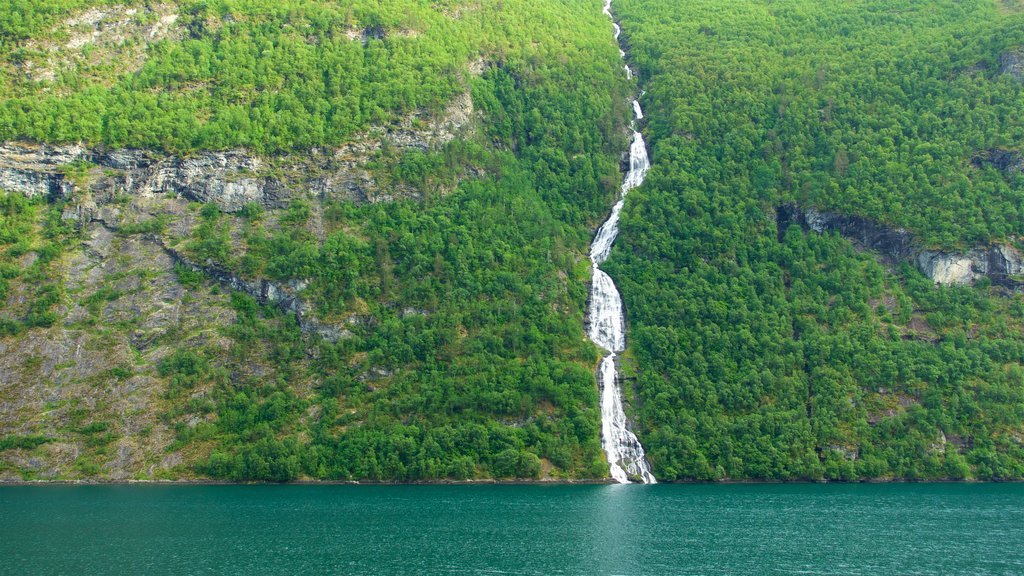 Geiranger showing a river or creek and a waterfall