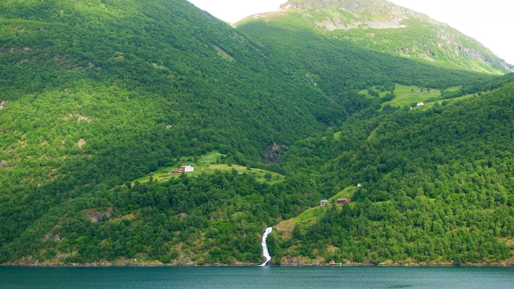 Geiranger which includes a river or creek, a waterfall and mountains