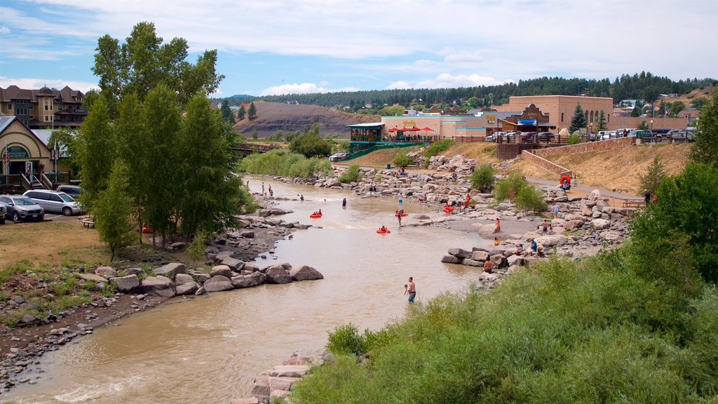 Pagosa Springs showing a small town or village and a river or creek