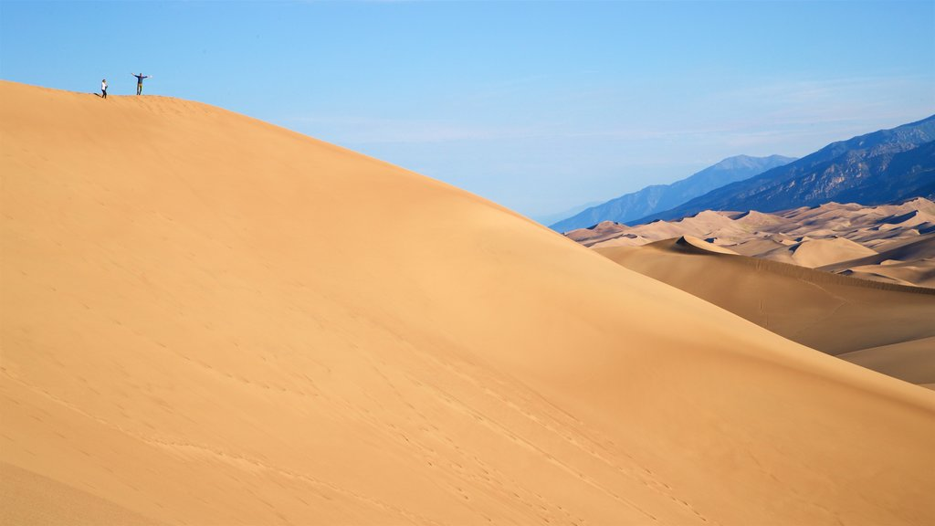 Great Sand Dunes National Park showing desert views and landscape views as well as a couple