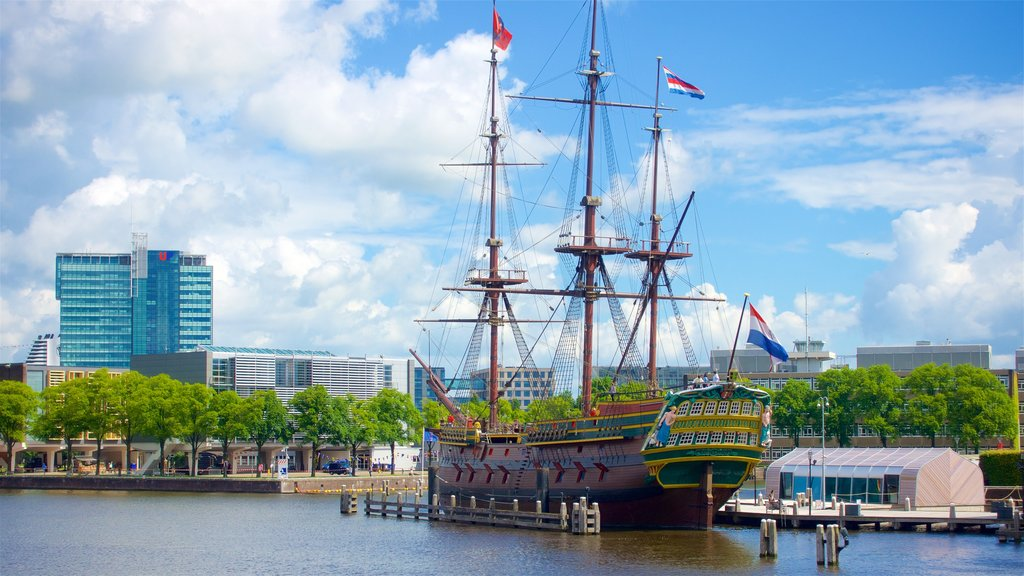 Amsterdam featuring a bay or harbor and heritage elements