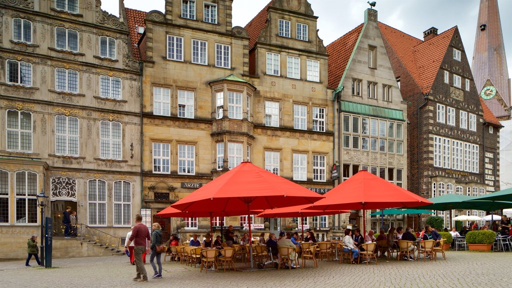 Bremen which includes heritage elements and outdoor eating as well as a small group of people