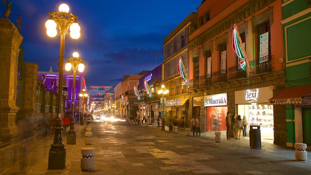 Puebla which includes night scenes