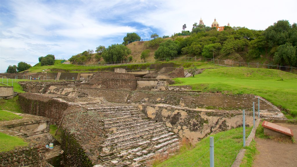 Great Pyramid of Cholula showing heritage elements and building ruins