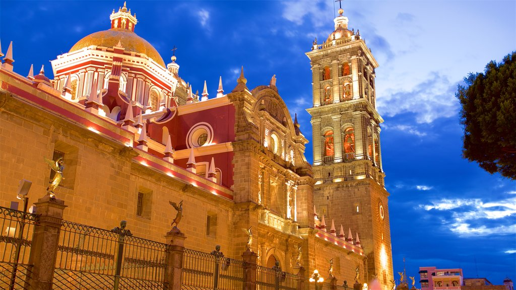 Puebla Cathedral showing a church or cathedral, heritage architecture and night scenes