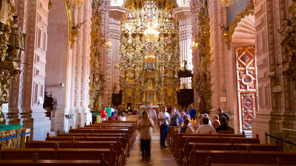 Santa Prisca Cathedral which includes heritage elements, interior views and a church or cathedral