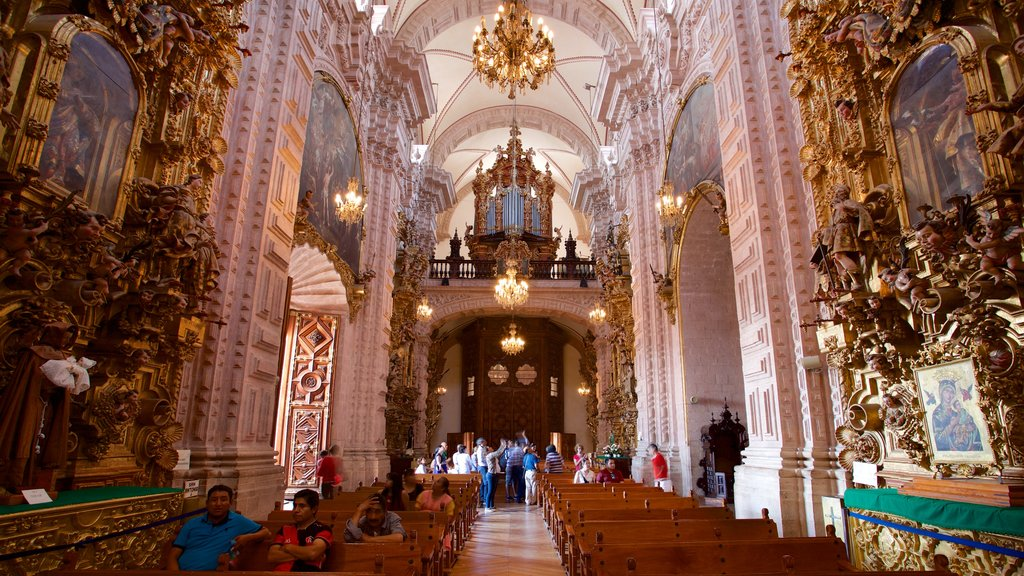 Santa Prisca Cathedral featuring interior views, heritage elements and a church or cathedral
