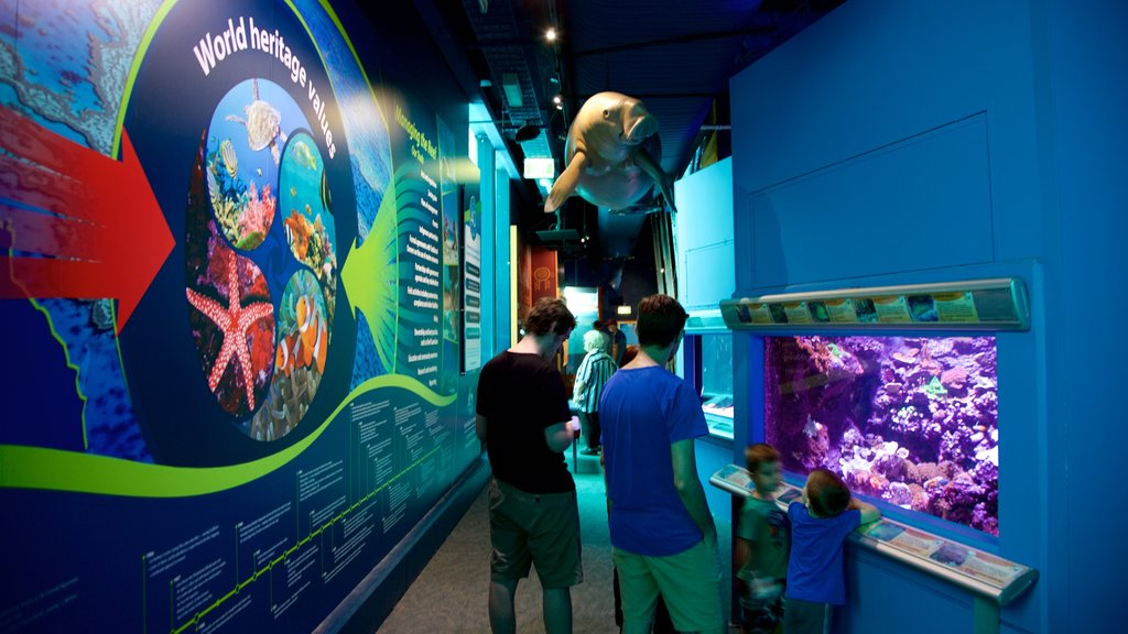 ReefHQ Aquarium featuring marine life and interior views as well as a small group of people